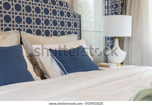 luxury bedroom in blue color tone, interior design
