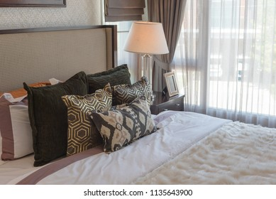 luxury bedroom with classic lamp table side, interior design decoration concept