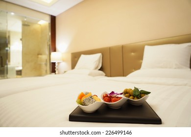 luxury bedroom with fresh Various fruits