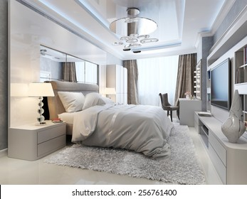 luxury bedroom interior, 3d picture