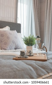 luxury bedroom style with set of pillows on king size bed, interior design concept
