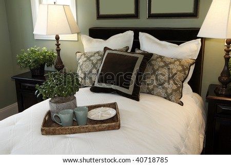Luxury Bedroom With Stylish Decor And A Bed Tray.
