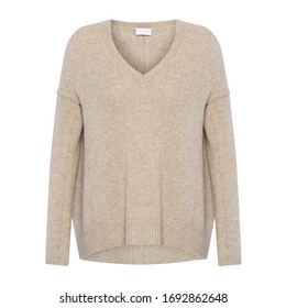 Luxury Beige Women's Wool Sweater Isolated on White Background. Stylish Warm Wide Pullover with V-Neck and Long Sleeves Front View. Best Modern Comfortable Sweatshirt Jersey Apparel for Ladys & Girls