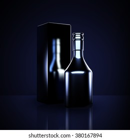 Luxury black background with elite alcohol. A bottle of cognac.