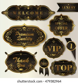 Luxury black labels set, glossy labels with exquisite golden frame