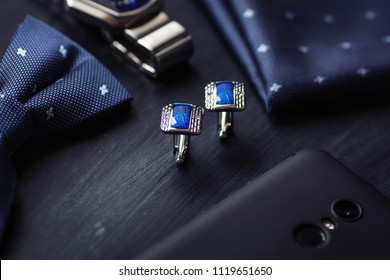 luxury blue fashion men's cufflinks. accessories for tuxedo, butterfly, tie, handkerchief, style watch and smartphone