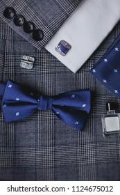 luxury blue fashion men's cufflinks. accessories for tuxedo, butterfly, tie, handkerchief