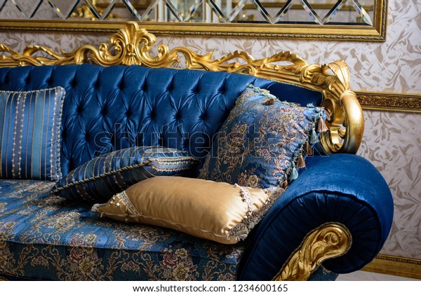 Tremendous Luxury Blue Sofa Pillows Baroque Style Stock Photo Edit Now Home Interior And Landscaping Dextoversignezvosmurscom