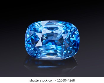 Luxury blue transparent sparkling gemstone  shape cushion cut sapphire isolated on black background.