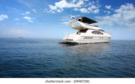 Luxury boat in the middle of the ocean