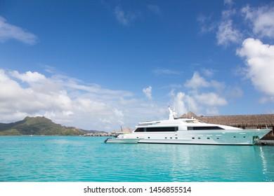 Luxury boat in paradise lagoon