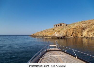 Luxury boat in sea near to the island