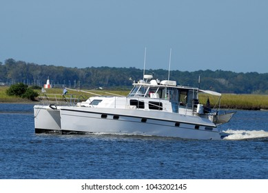 Luxury boats cruising on the river St. Augustine, Florida
