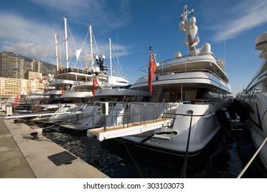 Luxury boats, docked in Monte Carlo's harbour, Monaco