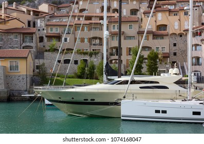 Luxury boats moored at the marina in Portopiccolo, near Trieste, Italy