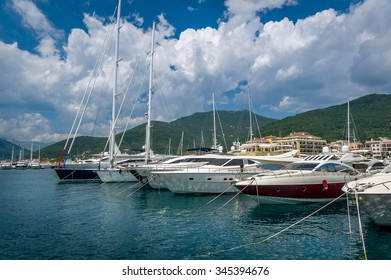 Luxury boats on the water at biggest Montenegrian yacht marina. Tivat, Montenegro