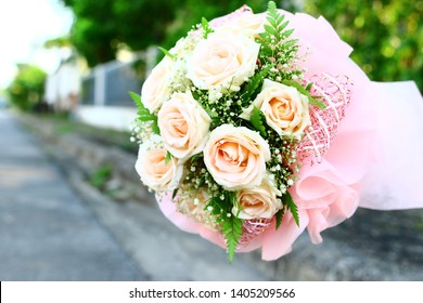 Luxury bouquet made of pink roses in flower shop Valentines Bouquet of red roses