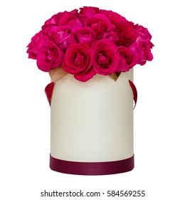 luxury bouquets of flowers in the hat box with copy space. roses White Isolate background