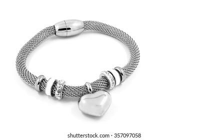 Luxury bracelet. Stainless steel. Silver finish. Isolated on white background