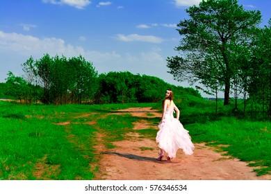 Luxury bride with diamond earrings in a wedding dress in a wedding dress