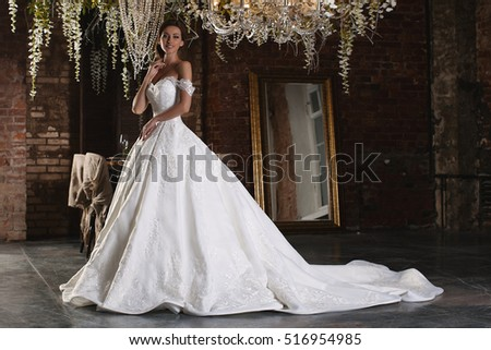 luxury bride in wedding dress for christmas charming bride in a magnificent wedding dress