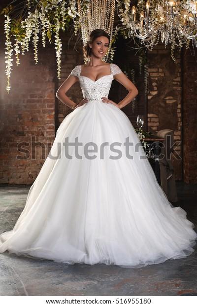 A Christmas Bride.Luxury Bride Wedding Dress Christmas Charming Stock Photo