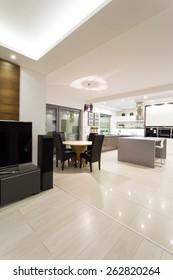 Luxury bright interior in modern detached house