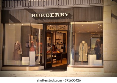 Luxury British fashion store, Burberry, Multrees Walk, St Andrews Square Edinburgh. Scotland UK. August 2017