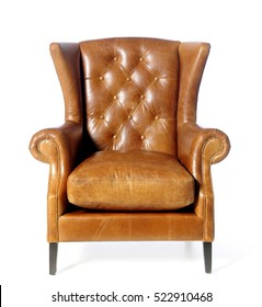 Luxury brown armchair isolated on white background