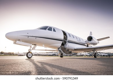 Luxury business jet ready for boarding
