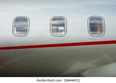 Luxury Business Private Jet plane windows raw