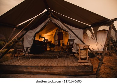 A Luxury Camping Tent In The Desert