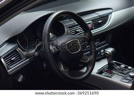 Luxury Car Black Leather Brushed Aluminium Stock Photo Edit Now