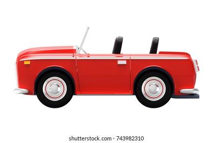 Luxury car cabriolet in cartoon style, vintage 70s. 3d illustration