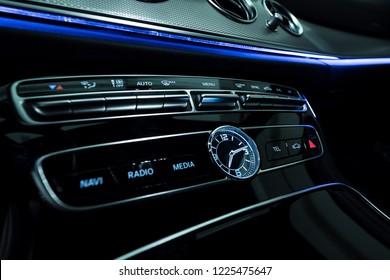 Luxury car interior with blue stripe