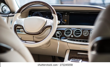Luxury car interior details. Shallow DOF - selective focus
