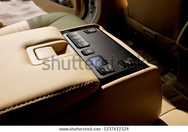 Luxury Car Interior Integrated Central Conmand Stock Photo