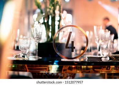 Luxury catering. Wedding or anniversary. Banquet. table served with cutlery, flowers, crockery. - Shutterstock ID 1512077957