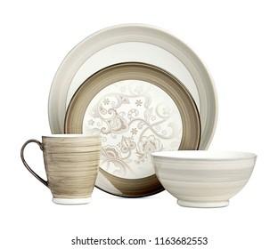 luxury ceramic dinner set, antique ivory cookware set on white background