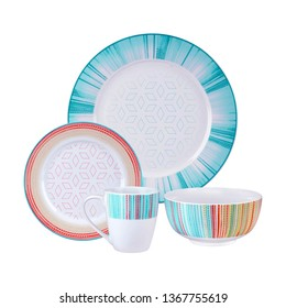 luxury ceramic dinner set, antique multicolored cookware set on white background. Cookware set