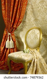 Luxury chair with beautiful curtain background