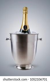 Luxury champagne bottle in ice bucket