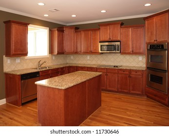 Luxury Cherry Wood Kitchen with Marble Island