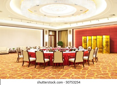 luxury chinese banqueting hall in hotel