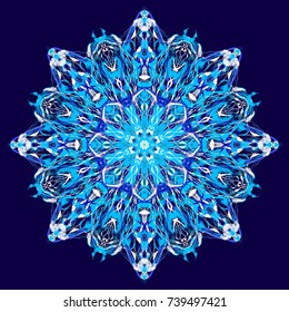 Luxury Christmas texture, frozen snowflake. Cold blue tribal pattern with traditional elements. Boho textile background, oriental carpet