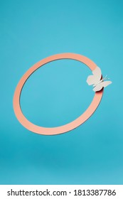 Luxury circle frame with butterfly on blue background. Concept scene stage showcase, for product, promotion, sale, banner, presentation, cosmetic. Minimal showcase mock up concept.