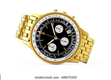 Luxury Classic Analog Men's Wrist Golden Watch on a white background. 3d Rendering