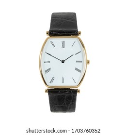 Luxury classic gold watch with a white dial and Roman numerals and a black leather strap, front view isolated on white background