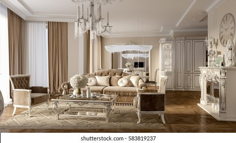 Luxury classic interior of dining room, kitchen and living room with white furniture and crystal chandeliers. 3d illustration