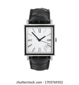 Luxury classic square watch with white dial and roman numerals and black leather strap, front view isolated on white background
